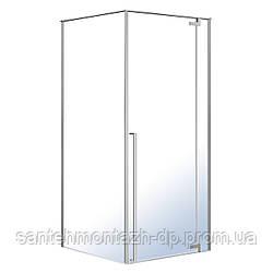 FREEZ душевая кабина 90*90*200см, квадратная, распашная дверь, правая, без поддона, хром, стекло прозрачное