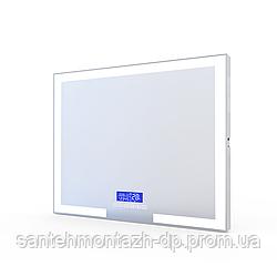 Зеркало прямоугольное 80*60см с подсветкой, подогревом зеркала, bluetooth, часы, температура