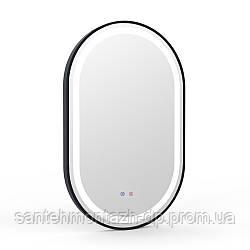 Зеркало овальное 50*80см, в алюминиевой раме, с подсветкой, диммером, подогревом зеркала, черное