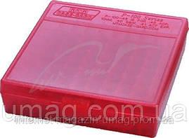 Коробка MTM для патронов калибр 17 HMR, 22WMR. на 100 патронов, красный