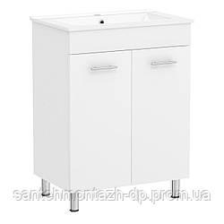MARO комплект мебели 60см белый: тумба напольная, 2 дверцы + умывальник накладной арт 13-01-395