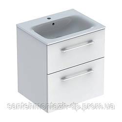 SELNOVA Square комплект: умывальник встроенный Slim Rim, с тумбой 58,8*50,2см, с 2мя ящиками, цвет белый