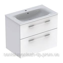 SELNOVA Square комплект: умывальник встроенный Slim Rim, с тумбой 78,8*50,2см, с 2мя ящиками, цвет белый