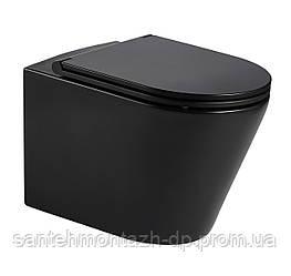 NEMO BLACK Rimless унитаз 51,5*35,5*36,5см подвесной, матовый, сиденье твердое Slim slow-closing