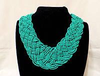 Ожерелье из бисера, мятно-зеленого цвета