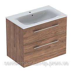 SELNOVA Square комплект: умывальник встроенный Slim Rim, с тумбой 78,8*50,2см, с 2мя ящиками, цвет тёмный орех