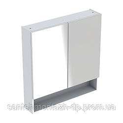 SELNOVA Square шкафчик зеркальный 58,8*85*17,5см, двухдверный, белый глянец
