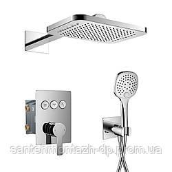 SMART CLICK система душевая скрытого монтажа (смеситель для душа, верхний душ 312*218 мм латунь 2 режима,