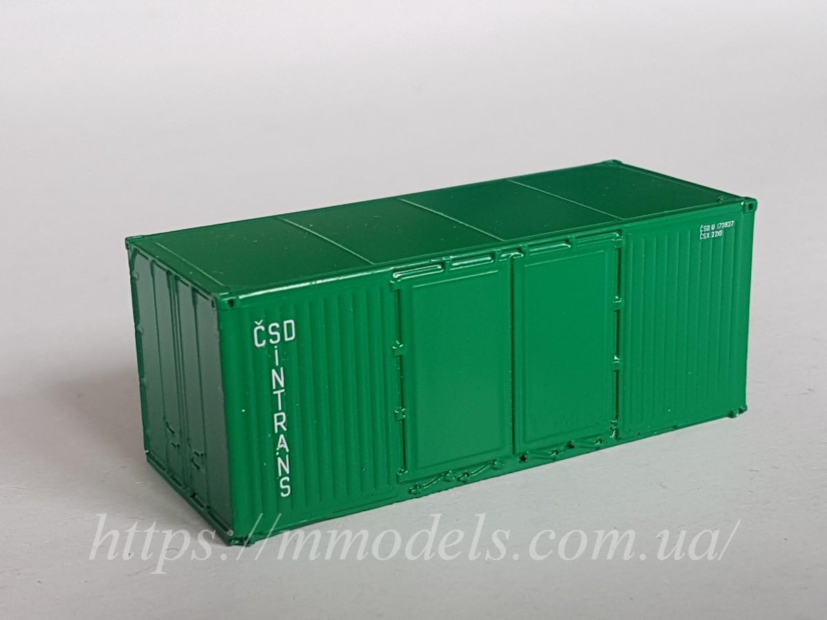 """Аксесуари для залізничного моделювання - 20 футовий Контейнер """"CSD INTRANS"""", приналежності CZ, 1/87"""