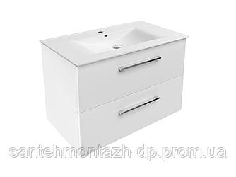 NEMO NEW комплект мебели 80см белый: тумба подвесная, 2 ящика + умывальник накладной арт 13-01-080B