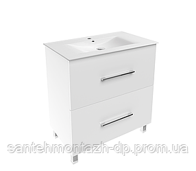 NEMO NEW комплект мебели 80см белый: тумба напольная, 2 ящика + умывальник накладной арт 13-01-080B