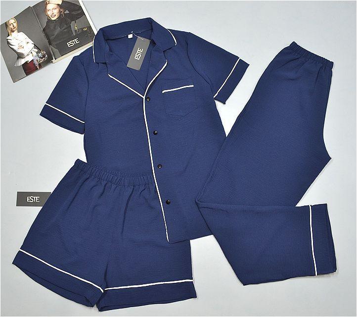 Пижама женская тройка Este рубашка штаны шорты темно-синий.