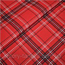 Шторная красная ткань в клетку для новогоднего носка, новогодних мешочков Ткани для штор на отрез