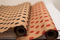 "Крафт бумага с принтом ""Polka dot - red"" 1 рулон, размер: 70 см * 800 см"