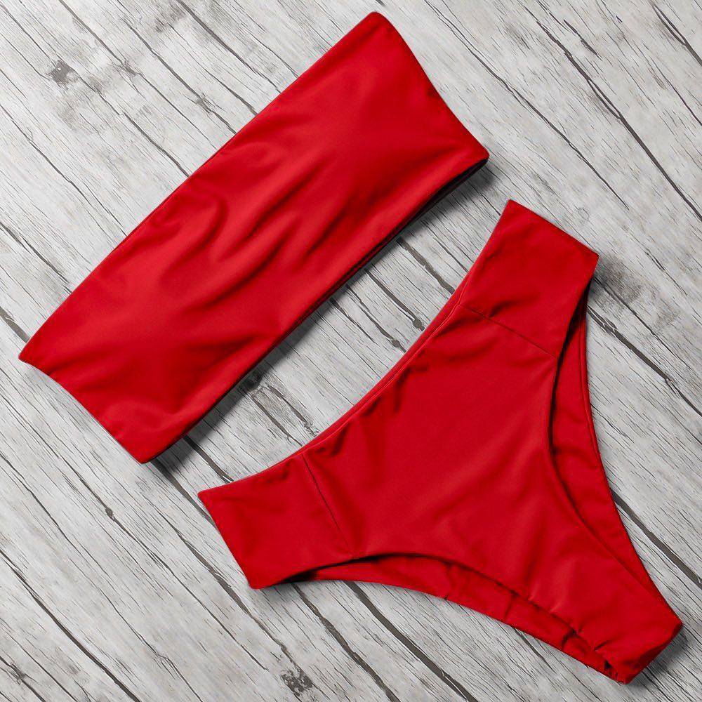 Червоний яскравий купальник бандо з високими безшовними бразиліана