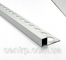 Алюминиевый П-образный бордюр для плитки до 12 мм АДБ 12-10 L-2.7 м Серебро полированное (анод)