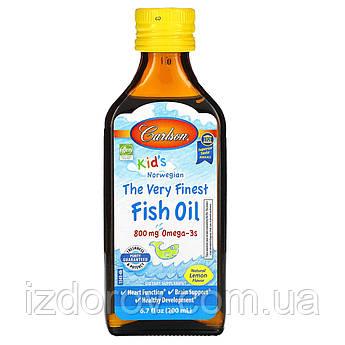 Carlson Labs, Норвежская серия для детей, Лучший Рыбий жир, натуральный лимонный вкус, 800 мг, 200 мл