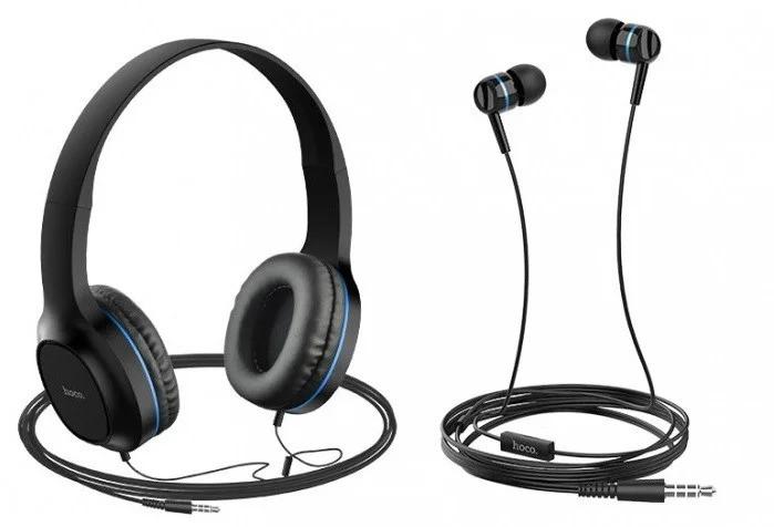 Навушники набір 2 в 1 вакуумні і накладні HOCO Enlighten W24