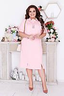 Красивое летнее женское льняное платье прямого кроя батал с 50 по 64 размер