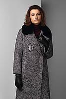 Зимнее твидовое женское пальто с воротником кролика Raslov 955