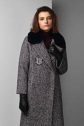 Зимовий твідове пальто жіноче з коміром кролика Raslov 955