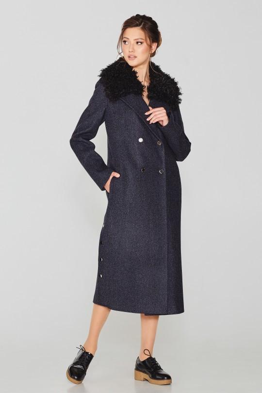 Стильное удлиненное зимнее пальто с мехом ламы Elvi 512