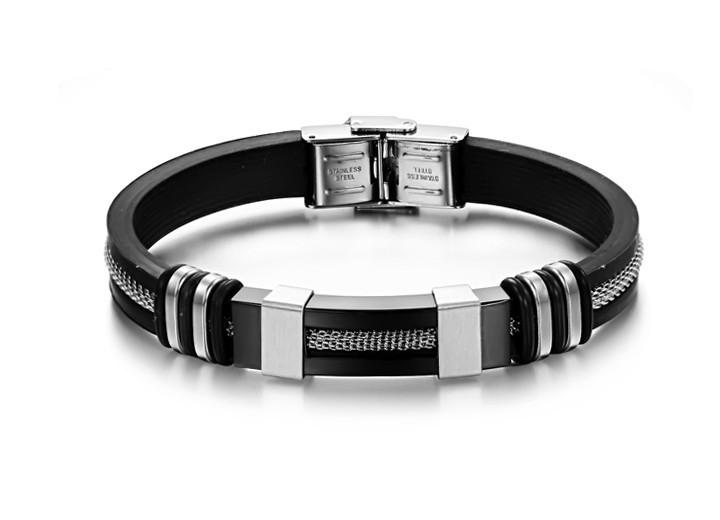 Каучуковый браслет «Chain» со вставками из нержавеющей стали (черный)