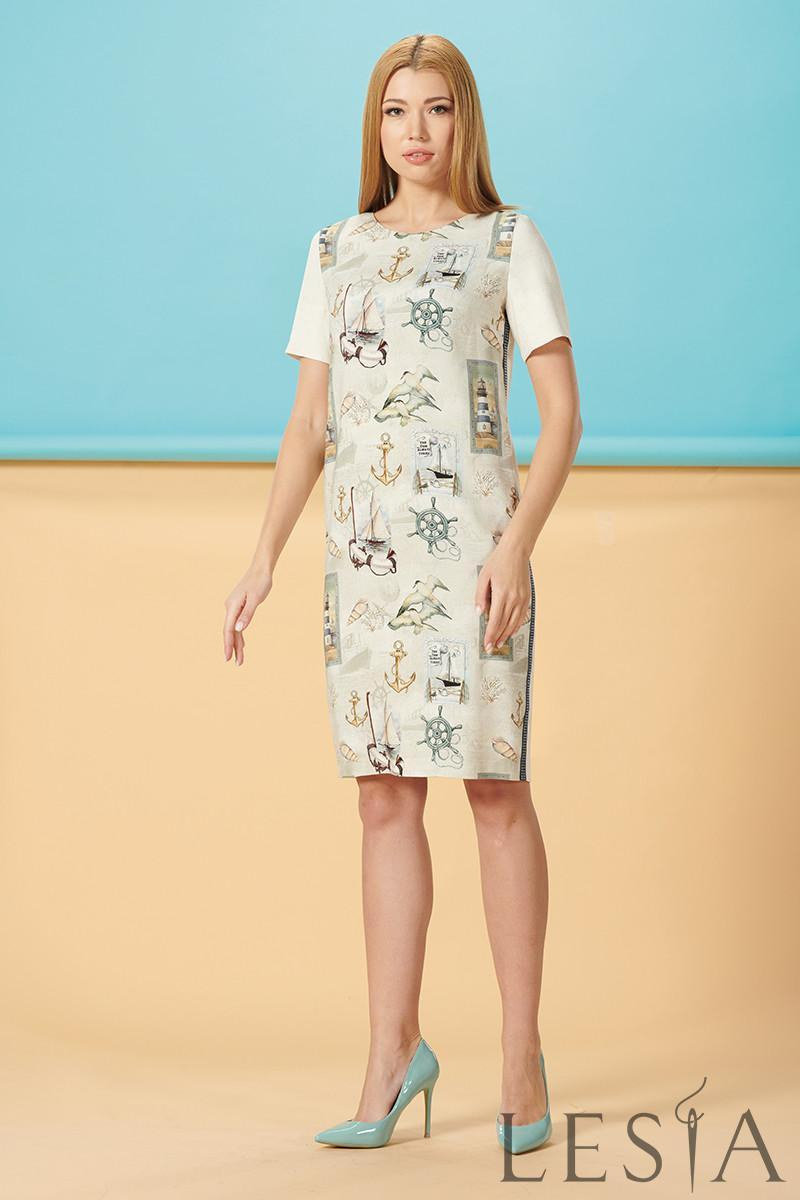 Літній лляне комбіноване бежеву сукню з принтом Lesya Таміс