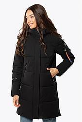 Женская зимняя удлиненная куртка черная 70446