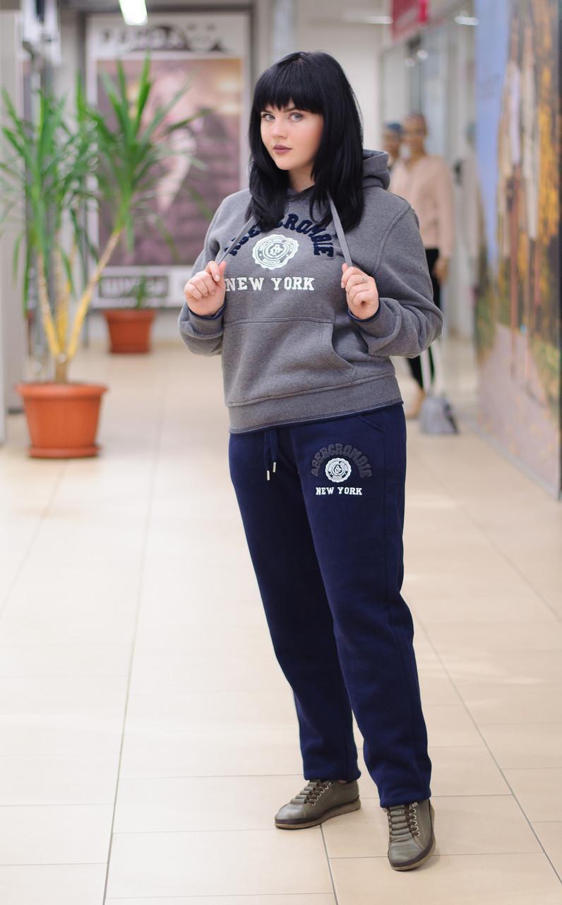 Женский зимний спортивный костюм с худи серый 6739