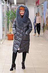Женский пуховик одеяло  с мехом ламы серый