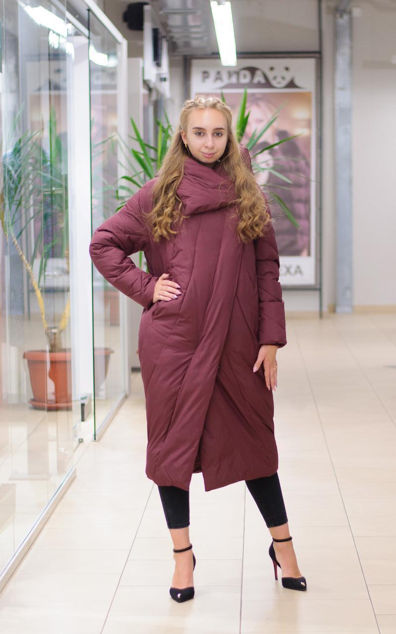 Зимний женский пуховик одеяло бордовый