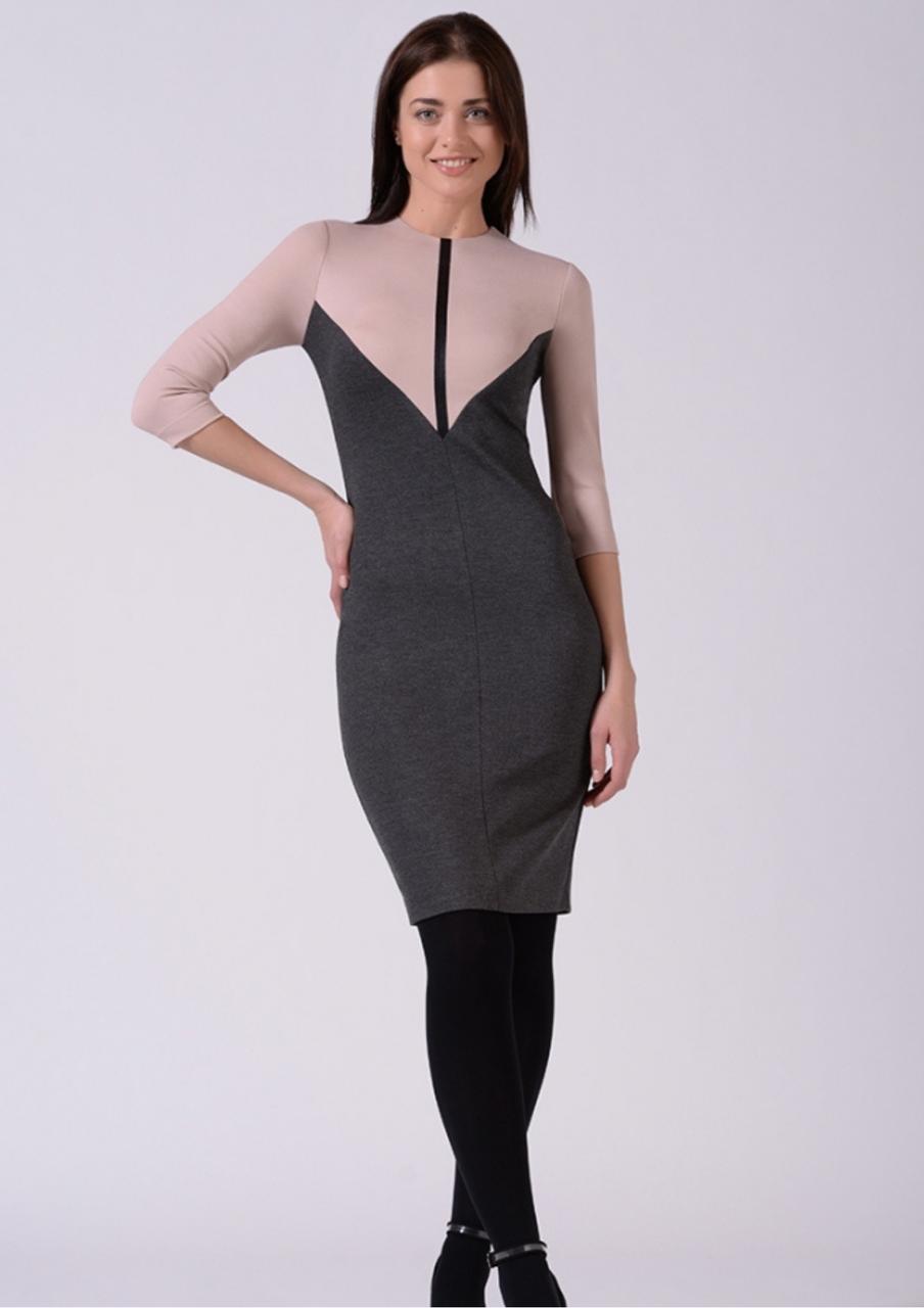 Стильна сукня трикотажне комбіноване сіро рожеве Lesya Аджин 7