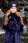 Стильная женская эко шуба синяя Elvi Ш 31, фото 5
