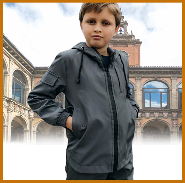 Дитяча куртка з капюшоном сіра для хлопчика весна/осінь, спортивна курточка на хлопчика Easy softshell