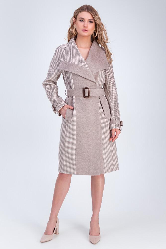 Классическое пальто из двух видов тканей Vam М-659