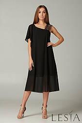 Ошатне чорне плаття з шифону з мереживом Lesya Тэрра