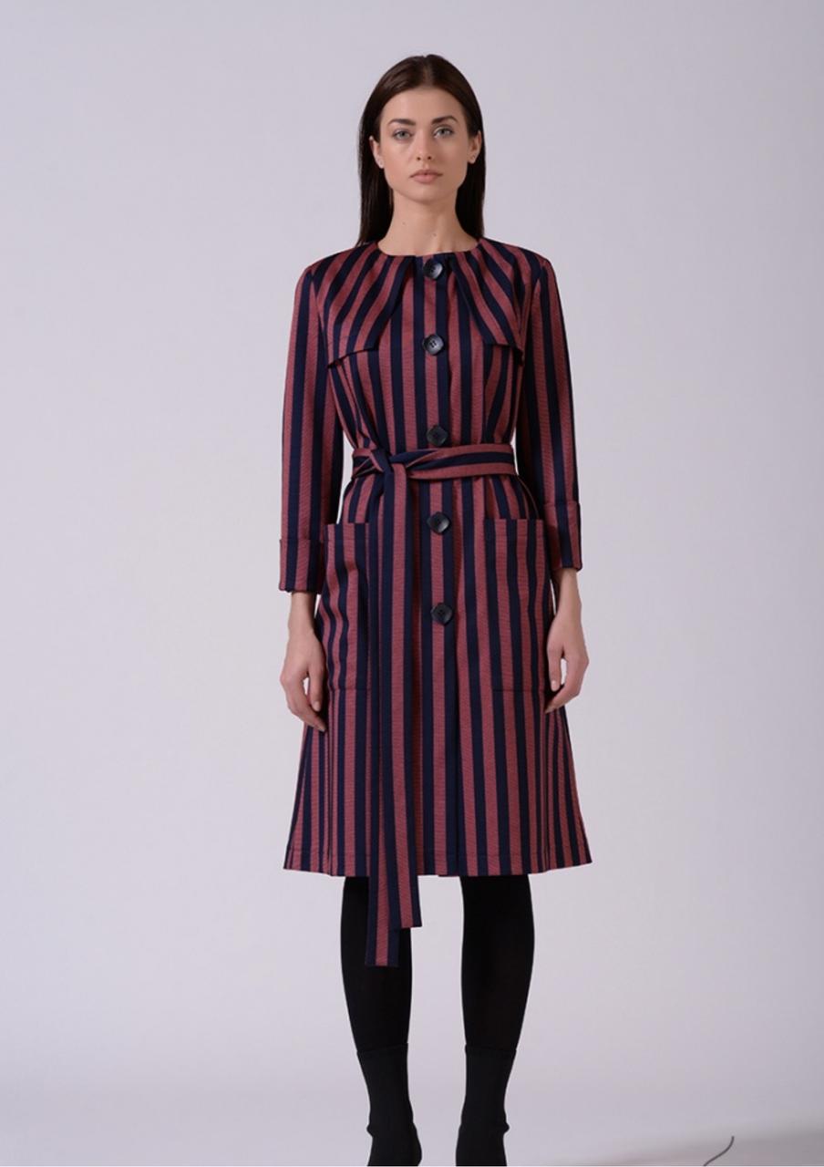 Стильне ділове бордове плаття в смужку Lesya Аджин 2