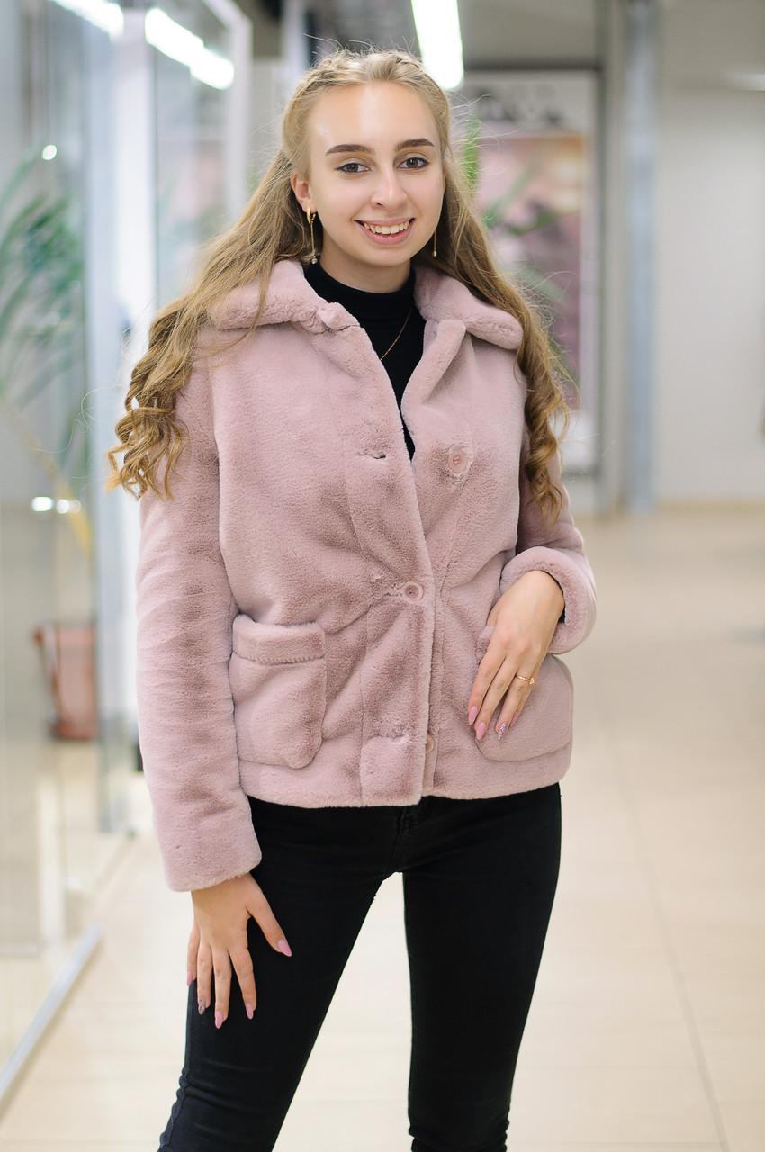 Жіноча коротка шубка з еко хутра рожева Elvi Ш 30