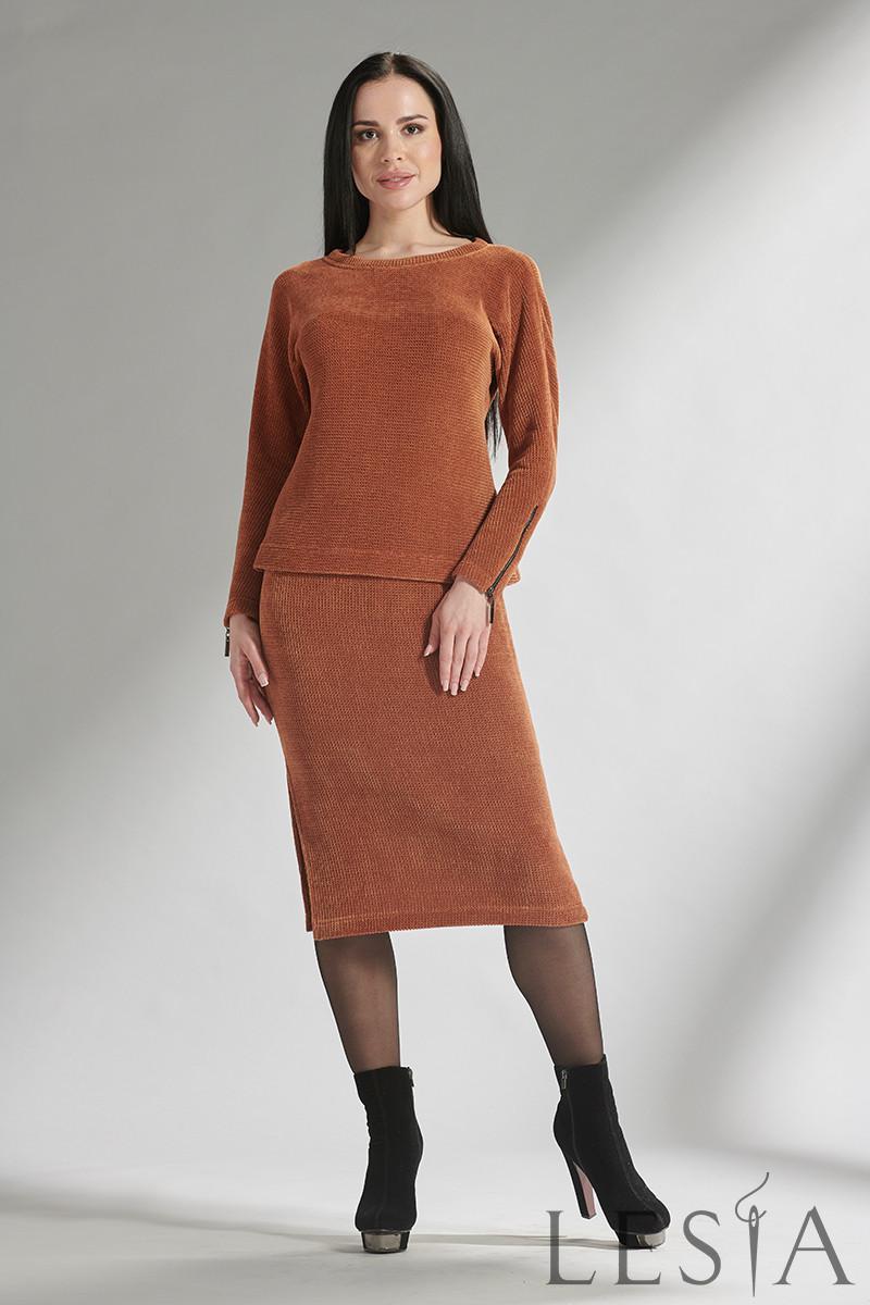 Теплый женский юбочный костюм из велюрового трикотажа Lesya Морес