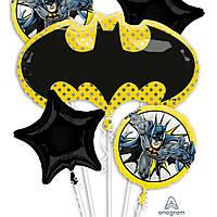 Фольгированный фигурный шар с гелием Эмблема Бетмен, 76х43 см