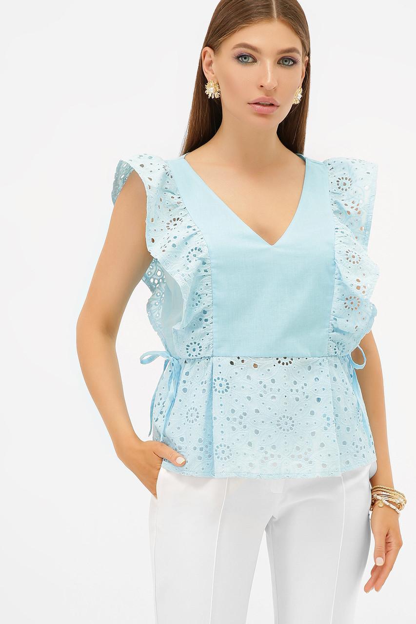 Летняя  блуза из батиста прошвы с воланами  голубая  Илари б/р