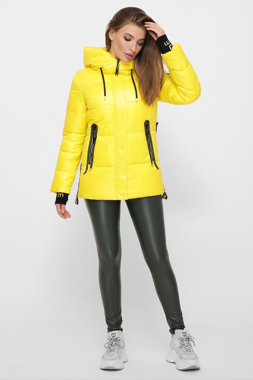 Женская зимняя короткая желтая куртка 8290
