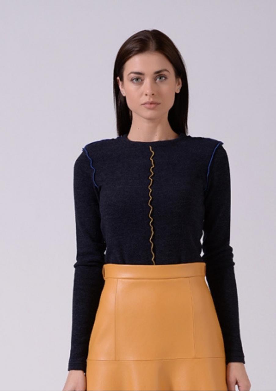 Стильный  женский трикотажный джемпер  синего цвета Lesya  Итона