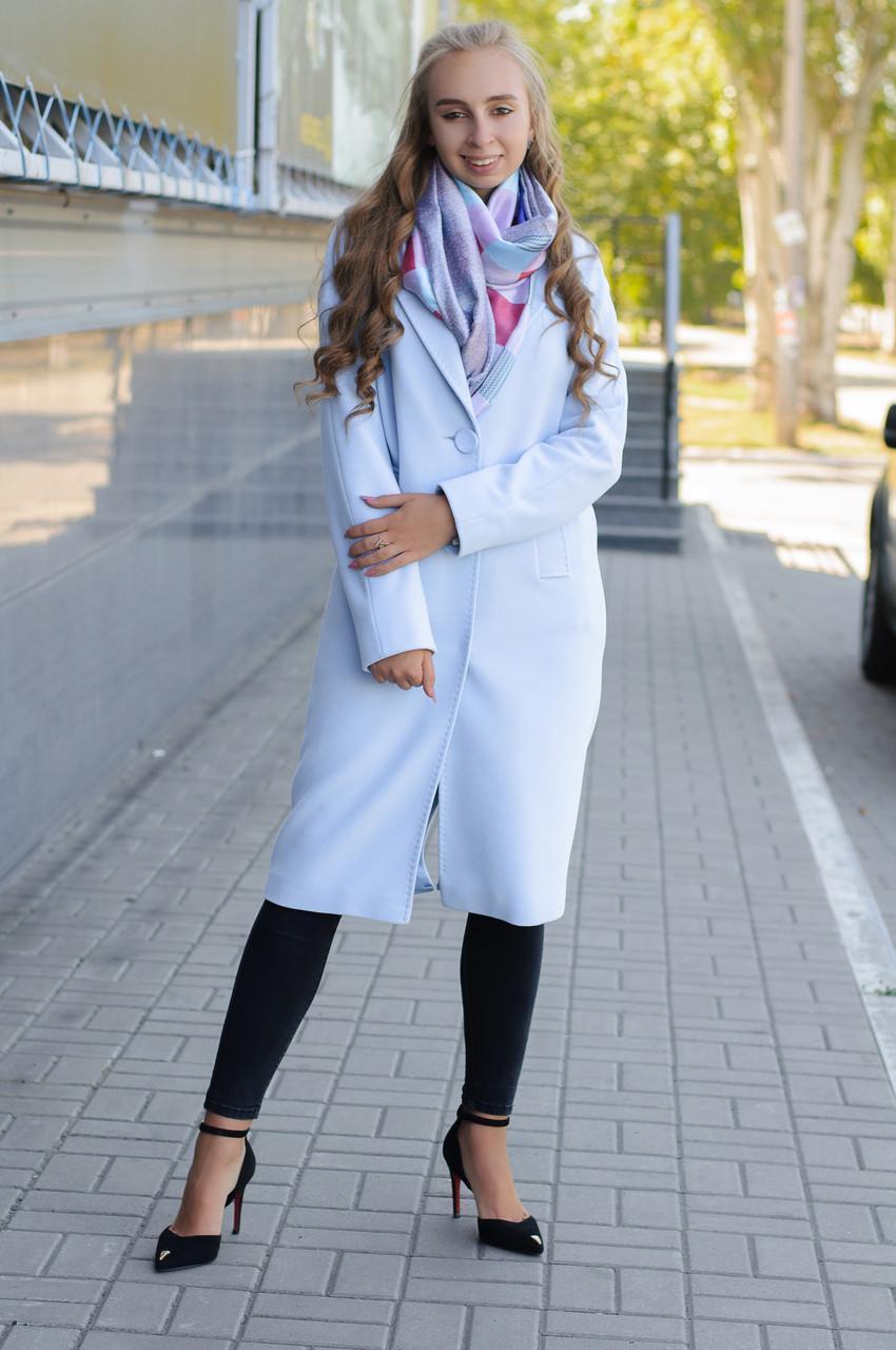 Деисезонное  женское голубое  пальто -кокон Ricco Эллия