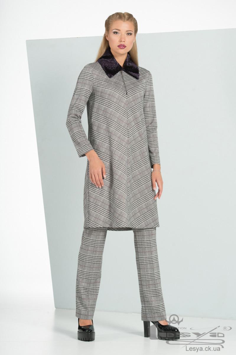 Жіночий костюм в клітину з сукні і штанів Lesya Піаф