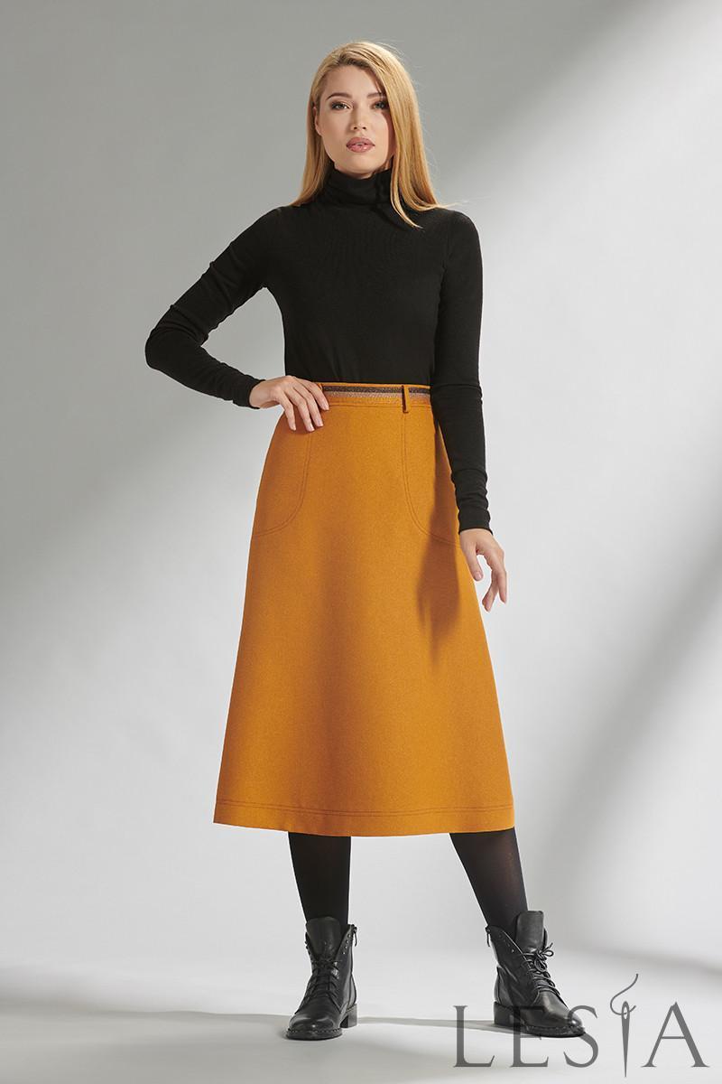 Яркая стильная юбка-трапеция длины миди  желтая Lesya Симона 2