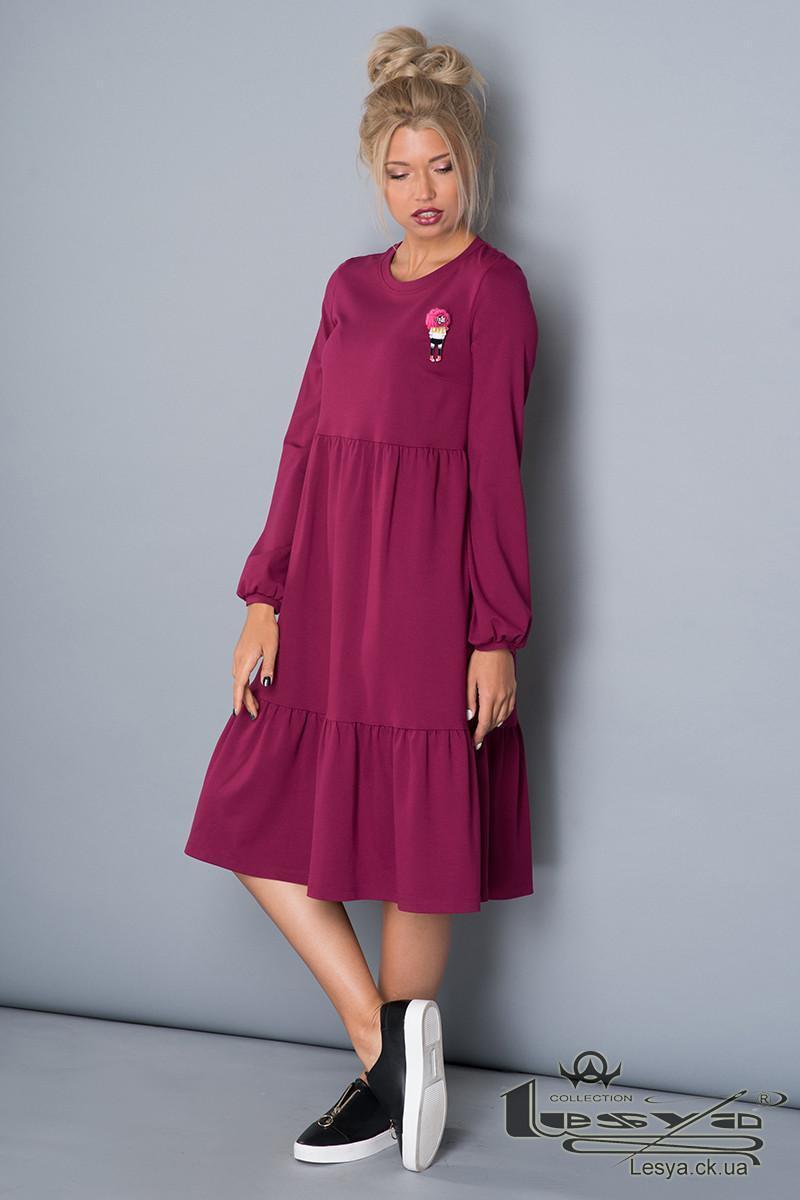 Малинове плаття А-силуету з оборками Lesya Паріса