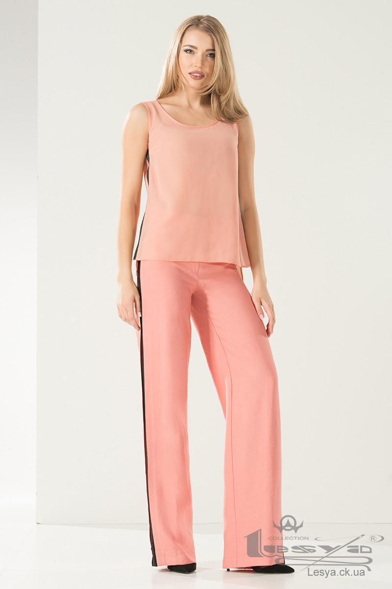 Легкі широкі брюки з льону рожеві Lesya АЛАТИ
