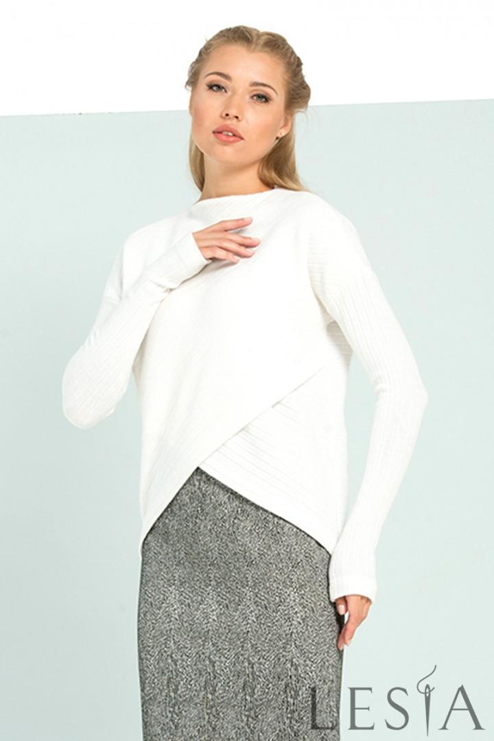 Повсякденна блуза з теплого трикотажу з асиметричною довжиною Lesya ДЕНИТА